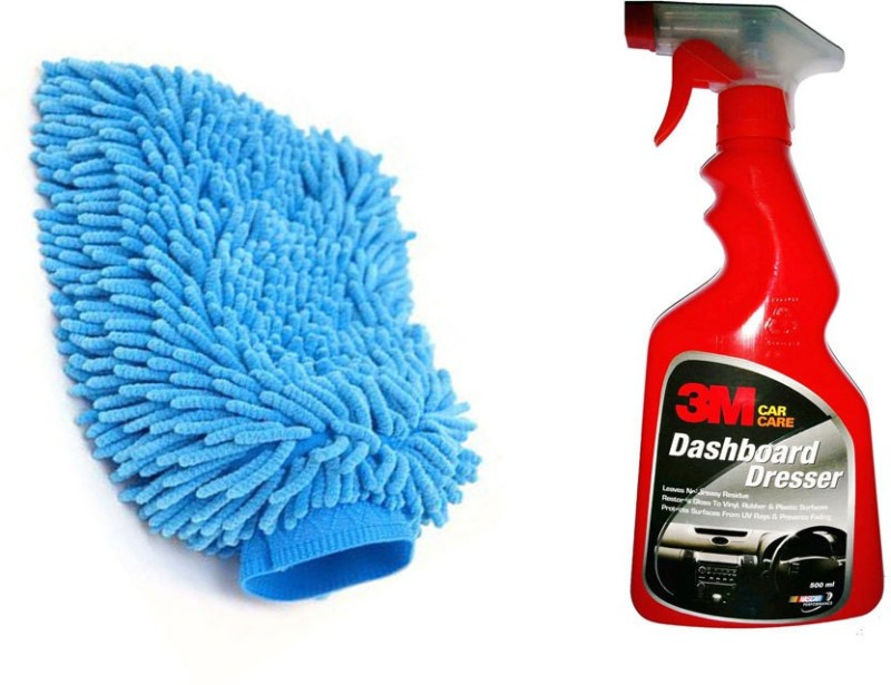 3M 1 Car Dashboard Dresser(500 Ml), 1 Microfiber Glove Mitt Combo