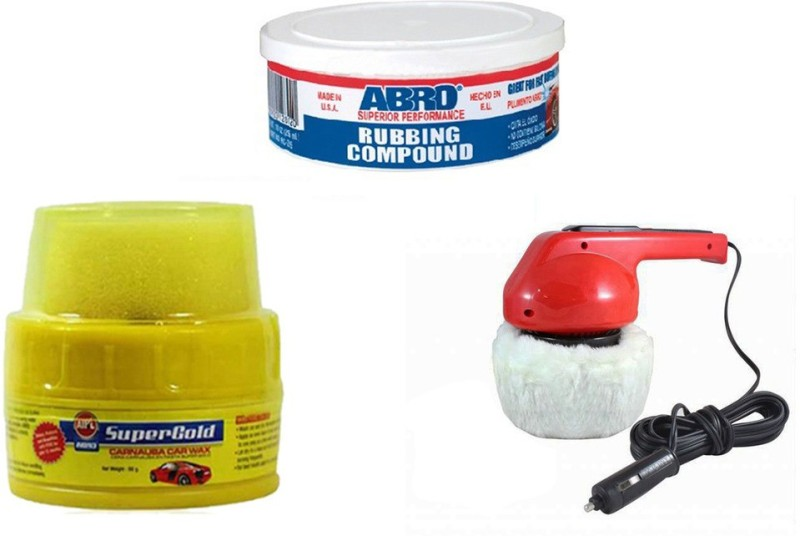 Abro 1 Car Polisher, 1 Abro Super Gold Wax Polish, 1 Abro Rubbing Compound Combo