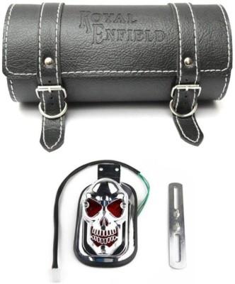 Nimarketing 1 Round Side Saddle Bag, 1 Bullet Skull Tail Light Combo