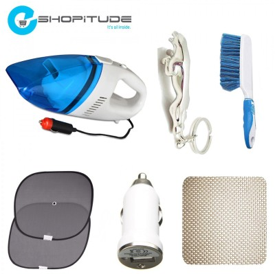 Eshopitude 1 Car Vaccum Cleaner, Car Sunshade set of 2, 1 Car Dasboard Mat, 1 Plastic Brush, 1 Car USB Charger, 1 Jaguar Key Chain Combo