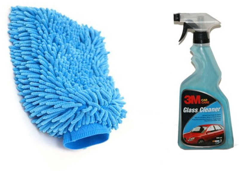 3M 1 Combo of 3M Car Glass Cleaner(500 ML), 1 Speedwav Microfiber Glove Combo