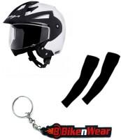 BikeNwear 1 Vega Crux Open Face Helmet-White-(Size-M-58 Cms), 1 Pair Arm Sleeves-Black, 1 Keyring Combo