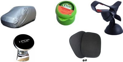 Auto Hub 1 Car Body Cover, 1 Car Steering knob, 1 Sun Shade, 1 Car Air Freshener, 1 Mobile Holder Combo