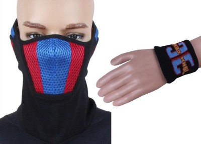 Sushito Black Face Mask With Ear Plug Combo Wrist Band Combo