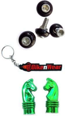 BikeNwear 2 Pair Bike/Car Number Plate Screw, 1 Pair Tyre Valve Cap, 1 Bikenwear Keyring Combo