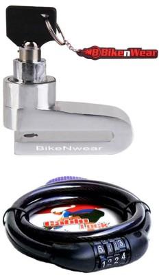 BikeNwear 1 Disc Brake Lock-Silver, 1 Cable Numberic Lock-Black Combo