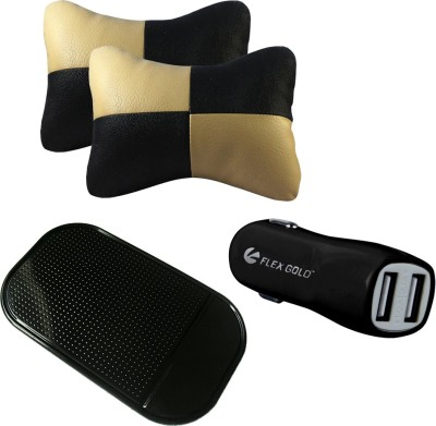 AutoKraftZ 2 Beige & Black Neck cushion, 1 double Socket Flex Gold Black car charger, 1 Spider Black Non slip Mat Combo