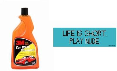 3M 1 Car Bumper Sticker-Life Is Short, 1 Premium Shampoo 500ml Combo