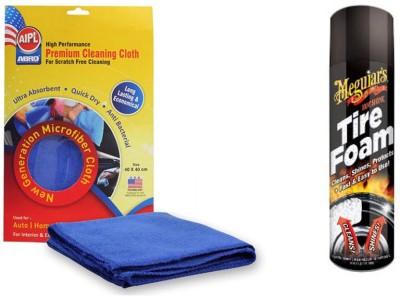 Meguiar's 1 Combo of Meguiars Hot Shine Tire Foam-538ml, 1 Abro Microfiber Cloth Combo