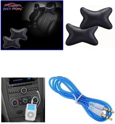 Auto Pearl 1Pcs Neck Rest Black, 1Pcs 3.5mm Aux Cable Combo
