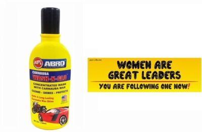 Abro 1 Car Bumper Sticker-Women Are Great, 1 Wash-N-Glow Shampoo (100 Ml) Combo