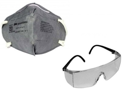 3M 1 Full Eye Cover Bike Riding Goggles, 1 AntiPollutionFaceMask Combo