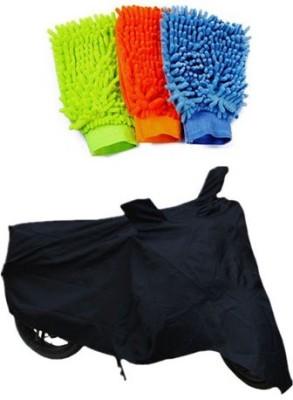 Retina 1x Universal Black Bike Body Cover, 3x Microfiber Vehicle Washing Hand Gloves Combo