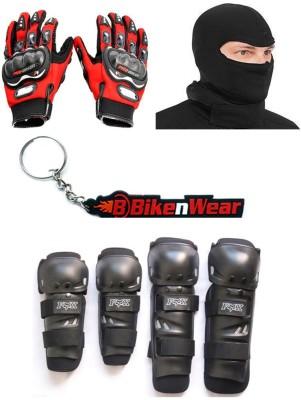BikeNwear 1 Fox Knee & Elbow Guard, 1 Probiker Gloves Red-XXL, 1 Balaclava Face Mask, 1 Keyring Combo