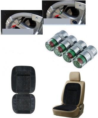 Auto Pearl 4Pcs Car and Bike Air Alert Tire Valve Cap, 1Pcs Velvet Bead Seat Grey Combo