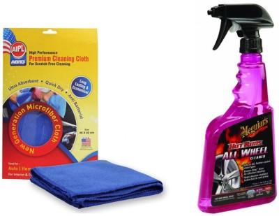 Meguiar's 1 Combo of Meguiars Hot Rims All Wheel & Tyre Cleaner-710ml, 1 Abro Microfiber Cloth Combo