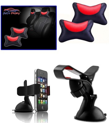 Auto Pearl 1Pcs Neck Rest Black and Red, 1Pcs Car Moblie Stand Combo