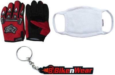 BikeNwear 1 Knighthood Gloves-Red, 1 Pollution Mask-White, 1 Bikenwear Keyring Combo