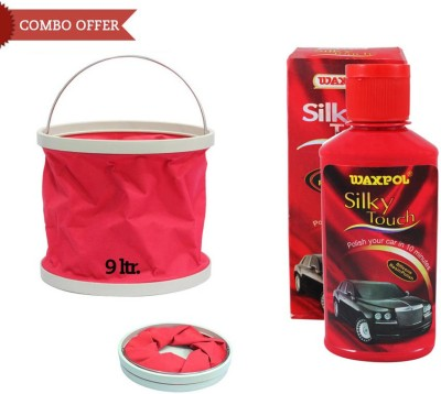 Waxpol 1 Silky Touch Silicone Resin Polish Shiner-150ml, 1 Foldable Water Bucket Combo