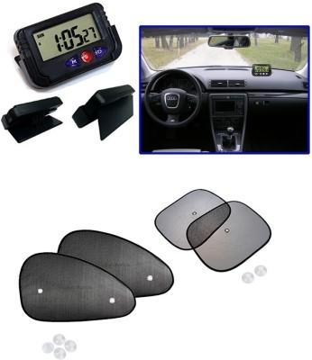 Auto Pearl 1Pcs Dash Board Clock, 1Pcs Car Auto Window Side Chipkoo Sunshade Curtains Set of 4Pcs Combo