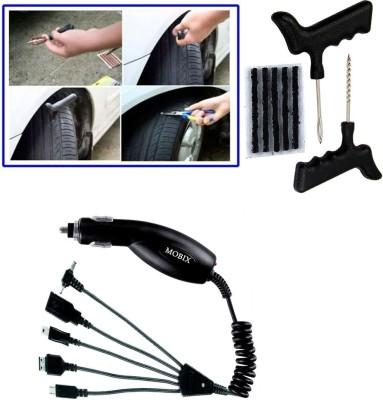 Auto Pearl 1Pcs Tubeless Tyre / Tire Puncture Kit, 1Pcs Mobix Car Charger Combo