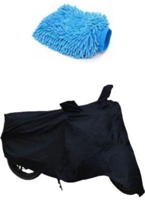 Retina 1x Universal Black Bike Body Cover, 1x Microfiber Vehicle Washing Hand Glove Combo