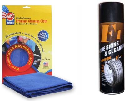 Abro 1 F1 Auto Tyre Shine and Cleaner 650ml, 1 Abro Microfiber Cloth Combo