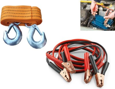 Canabee 1 Heavy Duty Fiber Tow Cable/Rope, 1 Battery Jumper Cable Combo