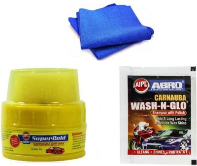 Abro 1 Car Polish, 1 WaxPolish, 1 Microfiber Cloth) Combo