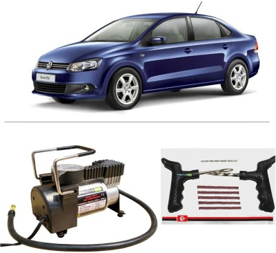 CreativeVia AutoCut-OFF Premium Metal Air Compressor With Tyre Punture Repair Kit For Volkswagen Vento TSI Combo