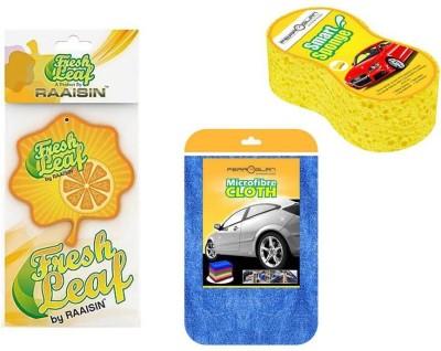 Raaisin 1 Car cleaning Sponge, 1 Microfibre cloth, 1 Hanging freshener Combo