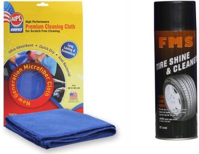 Abro 1 FMS Auto Tyre Shine and Cleaner 600ml, 1 Abro Microfiber Cloth Combo