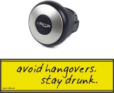 I-Pop 1 Combo Of Car Bumper Sticker-AVOID HANGOVERS, 1 i-Pop Steering Knob-Silver Combo