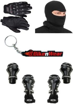 BikeNwear 1 Axo Knee & Elbow Guard, 1 Probiker Gloves, 1 Balaclava Face Mask, 1 Keyring Combo