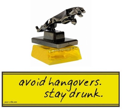 Speedwav 1 Combo Of Car Bumper Sticker-AVOID HANGOVERS, 1 Jaguar Perfume-Yellow Combo