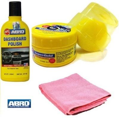 Abro 1 Dashboard Polish, 1 SuperGold Car Polish, 1 Abro Microfiber Cloth Combo