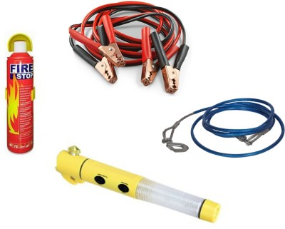 Canabee 1 Heavy Duty Tow Cable(Blue), 1 Emergency Light, 1 Fire Extinguisher, 1 Battery Jumper Cable Combo