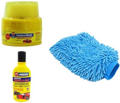 Speedwav 1 Car Cleaning Kit Microfiber Glove, 1 Abro Wax Polish, 1 Abro Shampoo Combo