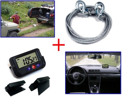 Auto Pearl 1Pcs Steel Towing Cable Rope 2000kgs 6mm, 1Pcs Dash Board Clock Combo