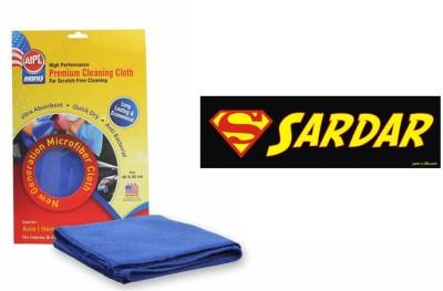 Speedwav 1 Quirky Car Bumper Sticker-SARDAR, 1 Abro Microfiber Cloth Combo