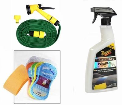 Meguiar's 1 Meguiars Wash & Wax anywhere Trigger-828ml, 1 Magic Sponge, 1 Spray Gun, 1 Spray Gun Combo