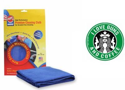 Abro 1 Combo Of Car Bumper Sticker-I LOVE GUNS & COFFEE, 1 Microfiber Cloth Combo