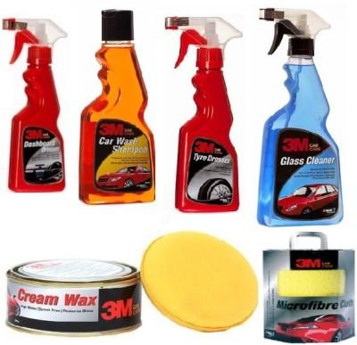 3M Dashboard Dresser, Car Wash Shampoo, Tyre Dresser, Glass Cleaner, Cream Wax, Microfiber Cloth Combo