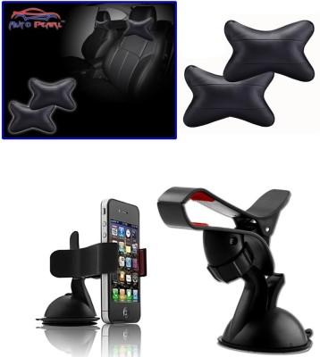 Auto Pearl 1Pcs Neck Rest Black, 1Pcs Car Moblie Stand Combo