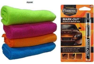 Mycar Phoenix1 Mark-Out Pen Scratch Remover(Pack of 1), Car Microfibre Duster – Set of 4 Pcs. Fabric Vehicle Washing Cloth Combo