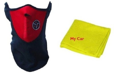Mycar All Season Bike Face cover For Stylish Bikers Anti-pollution Mask, Microfibre Vehicle Washing Cloth Combo