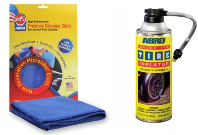 Abro 1 Quick Fix Tyre Inflator and Sealant QF-25 (340 gm), 1 Microfiber Cloth Combo