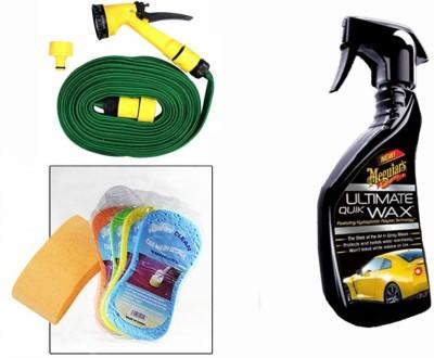 Meguiar's 1 Meguiars Ultimate Quick Wax Wash-450ml, 1 Magic Sponge, 1 Spray Gun, 1 Spray Gun Combo
