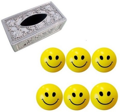 De AutoCare Set of 6 Pcs Of Smiley Face Stress Relief Mood Squeeze Balls and, Royal Tissues Holder with Tisues Paper Pack Combo