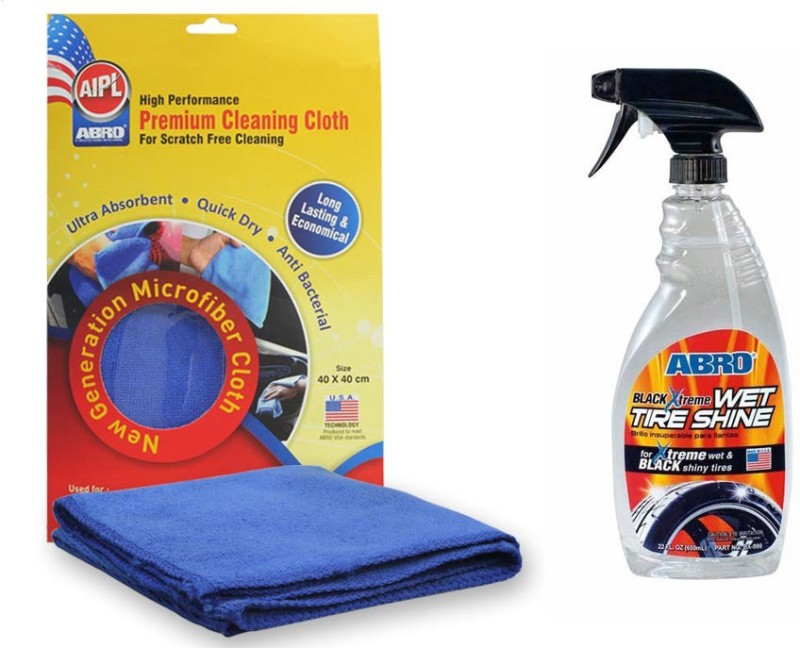 Abro 1 Black Extreme Wet Tyre Shine BX-999(680 ml), 1 Microfiber Cloth Combo